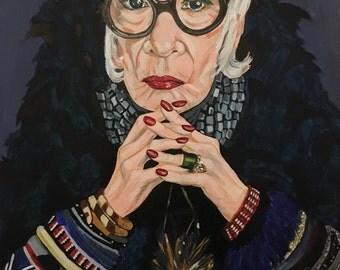 Original acrylic A2 painting of Iris Apfel