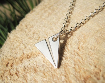 Sterling Silver Origami Paper Plane Necklace