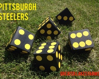 Pittsburgh Steelers Giant Yard Yahtzee- Sanded and Painted (wedding games, yahtzee, yard games, outdoor games)