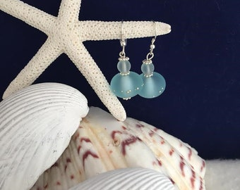 Handcrafted Lampwork beads Earrings with Sterling Silver Dots details and Sea Glass Beads in iced Blue.