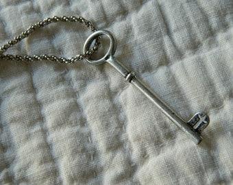 Vintage Long Necklace with Skeleton Key Pendant. Bohemian. Hippie.