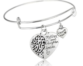 Mother Daughter Heart Jewelry- Mother Daughter Heart Bangle Bracelet - Perfect Gift for Mom or Daughter!!
