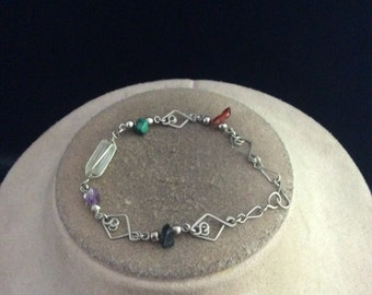 Vintage Multi Colored Glass Stone Bracelet
