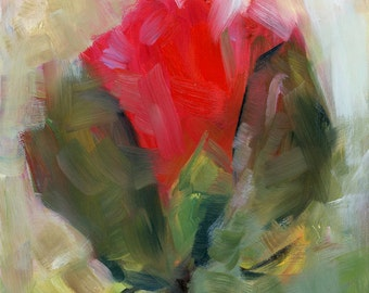 Rosebud Painting, Expressionistic, Floral art, Original Oil Painting, 6 x 6""