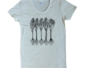 Women's Five Trees with Roots American Apparel t shirt 15 Colors available S M L XL