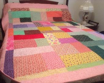 "Handmade Queen Size Patchwork Quilt 80"" x 95""."
