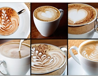 PS0374 Poster Print Cappuccino cups Montage COFFEE Shop FOOD & DRINK Art