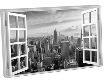 785987 Print On Canvas Window View NEW YORK CITY Empire State Building Manhatton