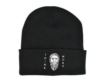 """Plato """"Think More"""" Beanie! Philosophy hat! Socrates, Greek, Western philosophy, Aristotle, Academy in Athens,"""