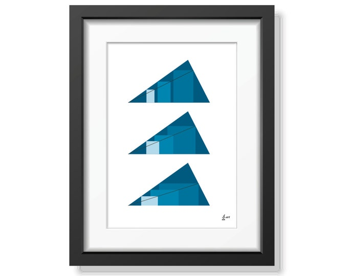 Rectangles in Triangles 08 [mathematical abstract art print, unframed] A4/A3 sizes