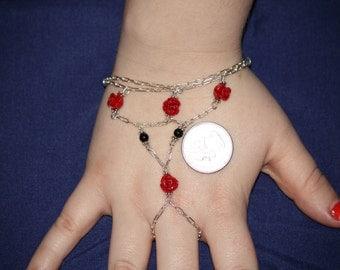 Red Rose Ring Bracelet