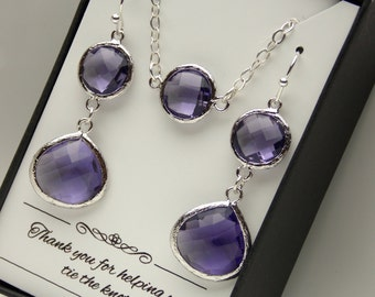 Purple Earring and Necklace Set, Wedding Jewelry, Sterling Silver Purple Necklace, Amethyst, Bridesmaid Jewelry Set, Bridesmaid Gift Set