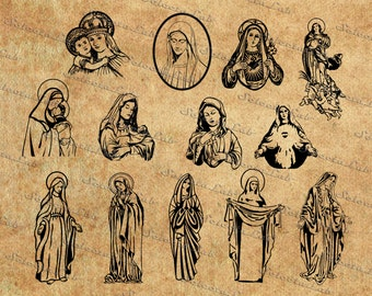 Digital SVG PNG, virgin mary, mary mother of jesus, immaculate heart of mary,  clipart, vector, silhouette, instant download