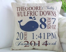 Nautical Nursery, Personalized Birth Pillow, Birth Stat Pillow, Nursery Decor, Birth Announcement Pillow, Customized Birth,INSERT INCLUDED