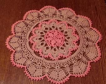 Crochet doily - Crochet doilies - Small doily - Round doily -Home decor -Brown crochet doily-Pink crochet doily-Handmade-Handmade tablecloth