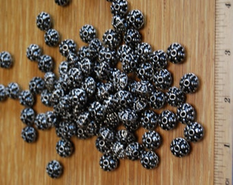 Silver Colored Metal Beads Style 3, lot of 90