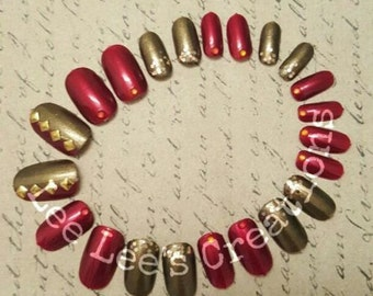 22pc Harvested Hand Painted Nail Set