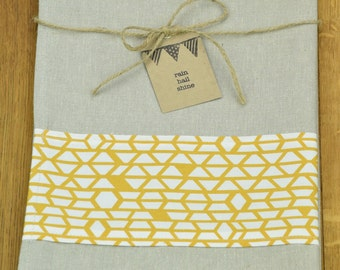 Hemp and Organic Cotton Tea Towel with Mustard Yellow Geometric Print