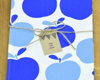100% Cotton Tea Towel with Funky Blue Apples