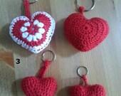 Heart keychain - crochet