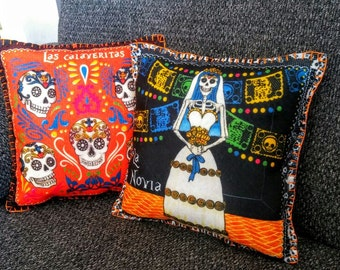 2 Pillows Day Of The Dead, Catrina Bride Sugar Skull Cushion, Bridal Shower  Wedding