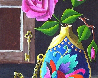 Original Acrylic Painting, Wall Art, Perfume Bottle and Roses, Still life 9 x 12 by Michael Hutton