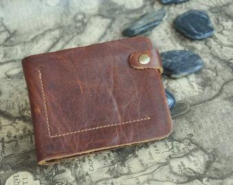 Mens Leather Wallet Brown Bi-fold Wallet Card Holder