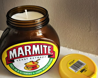 Marmite hand poured soy wax container candle (500g) Made in the UK.
