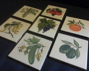 Vintage Fruits/Vegetables Ceramic Tiles - Set of 14