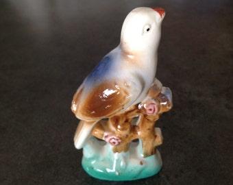 Vintage Bird On Branch Figurine Porcelain Ceramic Japan MIJ Fence Flower Antique