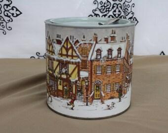 vintage Christmas Tobacco tin Town scene