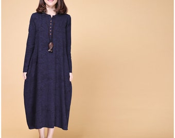 Loose fitting cotton and linen long dress autumn dress linen tunic dress maxi dress linen dress women linen clothing