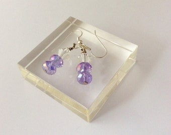 Lilac earrings with rondelles and bicone beads