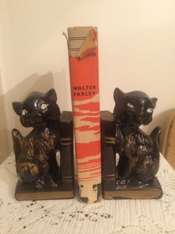 Vintage Mid Century Black Cat Bookends + Pen Holders Made In Japan