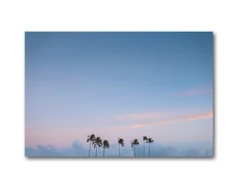 Paradise Canvas wrap, Sunset palm trees art, Blue clouds palm trees artwork, Sunset Paradise Canvas print, Pastel sky palm trees wall decor