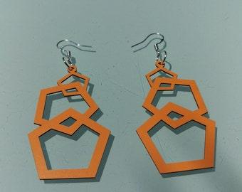 Electric Orange Pentagon Earrings