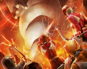 Might Morphing Power Rangers vs. Stay Puft Marshmallow Man Ghostbusters - 11 x 17 Digital Print