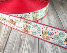 """Girl scout cookie ribbon  - I love girl scout cookies - DIY girl scout bow - 1"""" ribbon - Girl scout crafts - DIY no slip headbands"""