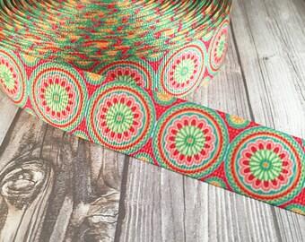 "Hippie ribbon - 1"" grosgrain ribbon - kaleidoscope ribbon - Retro ribbon - Trippy ribbon - Funky ribbon - Crafting ribbon - Crafty supply"
