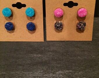 Round Glitter Earrings-Set of 2