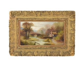 19th Century Oil Painting Charming House by River with Bridge Original Frame
