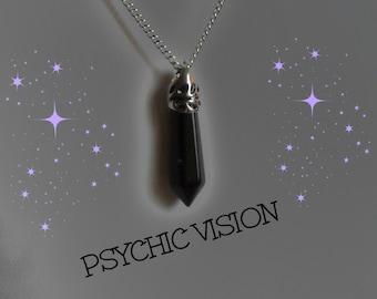 Black Agate Crystal Necklace/Black Agate Pendant/Crystal Necklace/Black Agate Pendulum/Healing Crystal Necklace/Divination Pendulum Pendant