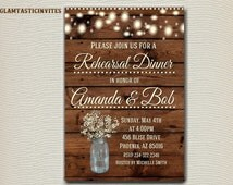 Rustic Rehearsal Dinner Invitation, Rustic Invitation, Mason Jar invitation, Flower Invitation, Rehearsal Dinner Invitation, Wood Invitation