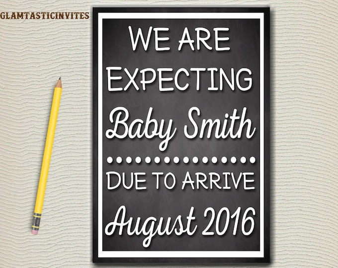 Pregnancy Announcement, Pregnancy Chalkboard, We're Expecting, We are Expecting, New Baby, Baby Reveal, Chalkboard, Digital, Pregnancy Sign
