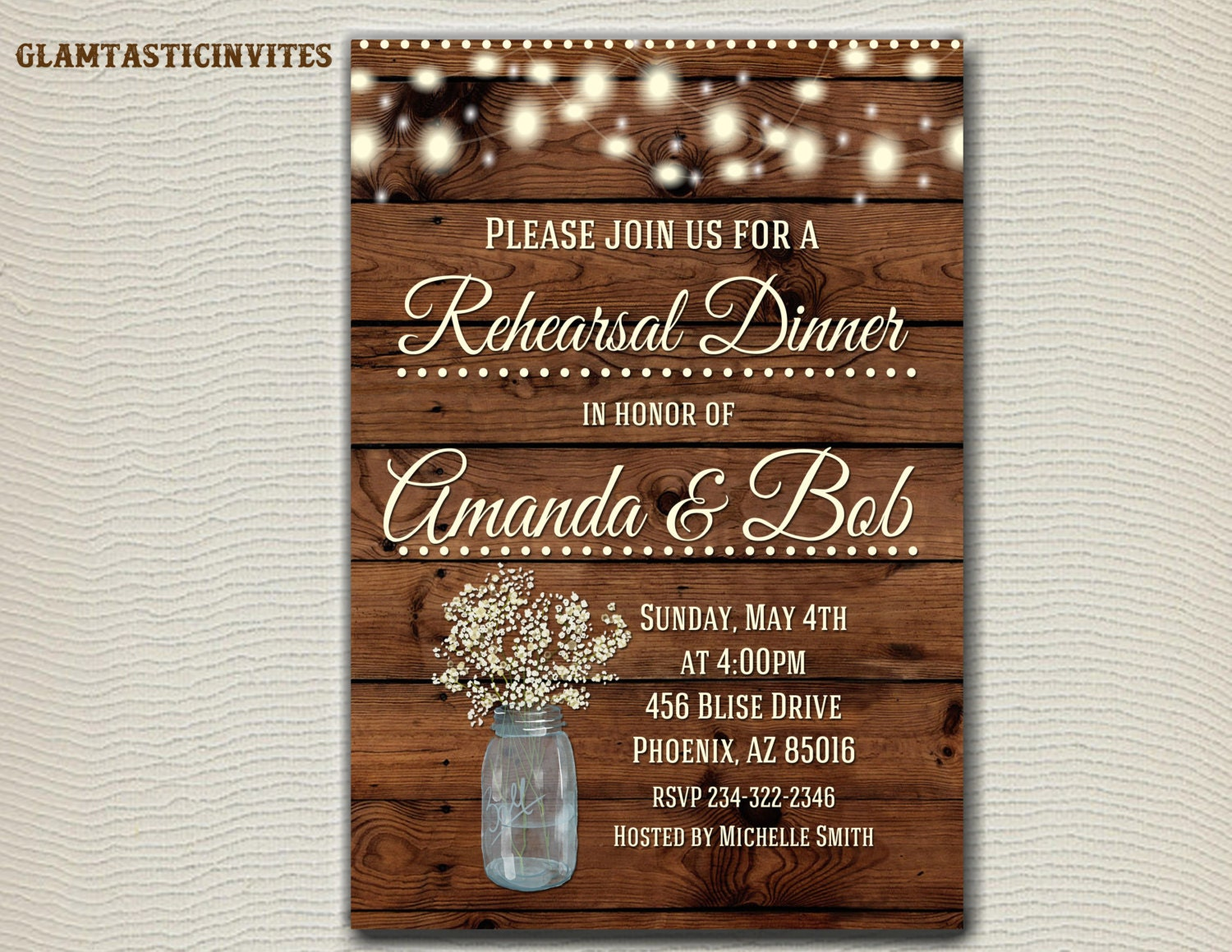 Who Is Invited To The Wedding Rehearsal Dinner: Rustic Rehearsal Dinner Invitation Rustic Invitation Mason