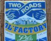Two Roads Brewing OL' Factory Pils Ceramic Craft Beer Coaster from Recycled 6 pack Holders. Beer Coasters. Drink Coasters. Beer Gifts.