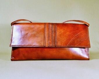 Vintage '70ties Cognac Colored Leather Bag, Shoulderbag, Evening Bag, Enveloppe Bag