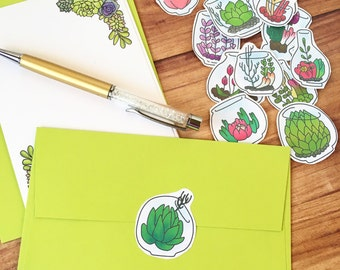 Water color succulent stationery set,writing paper,snail mail
