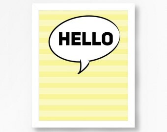 Minimalist Typography Art, Hello Wall Print, Minimalist Typography Poster, Yellow Wall Print, Minimalist Typography Quote Art, Word Art