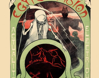 """Egypsovision 16""""x20"""" Option Grim Reaper Devil Occult Mephistopheles wizard snakes bats  Vintage Poster Repro Free Ship in USA"""